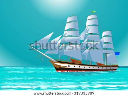 Clipper sailing tall ship in the sea, vector illustration - stock vector