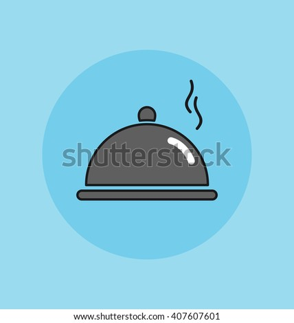 Cloche, food plate vector sign illustration icon. Cloche icon app. Cloche icon art. Cloche icon image. Cloche icon picture. Cloche icon vector. Cloche icon logo. Cloche icon food. Cloche icon web.   - stock vector