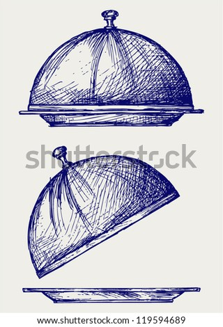 Cloche with open lid. Doodle style - stock vector