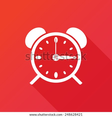 Clock alarm icon. Long shadow - stock vector