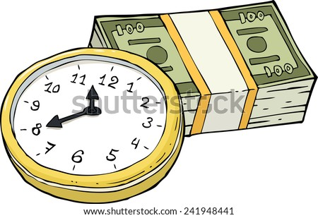 Clock and a wad of cash vector illustration - stock vector