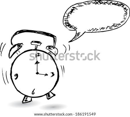 clock and bubble talk - stock vector