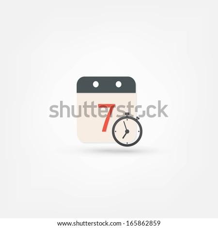 clock and calendar icon - stock vector