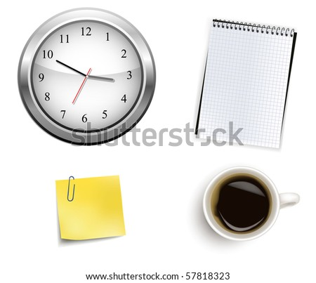 Clock and office supplies. Vector.