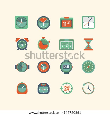 Clock and time icon set - stock vector