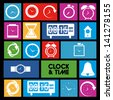 clock and time icons over colorful background vector illustration - stock photo