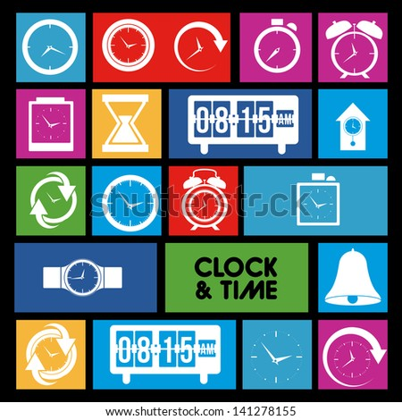 clock and time icons over colorful background vector illustration - stock vector