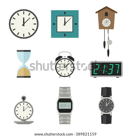 Clock and watches vector icons set. Different types of clocks and watches. - stock vector