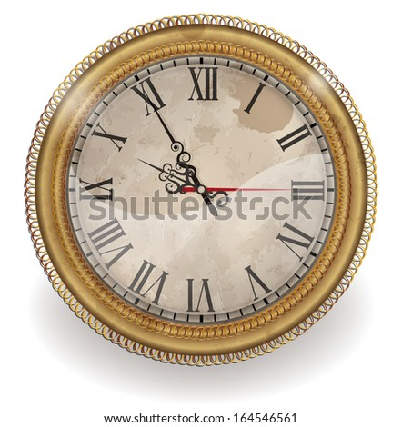 Clock antique in gold  frame