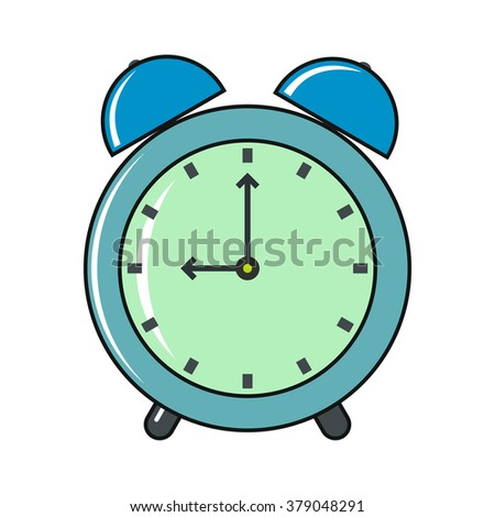 Clock cartoon icon isolated on a white background - stock vector