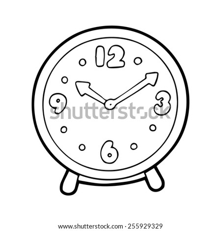 Clock cartoon illustration isolated on white without color - stock vector
