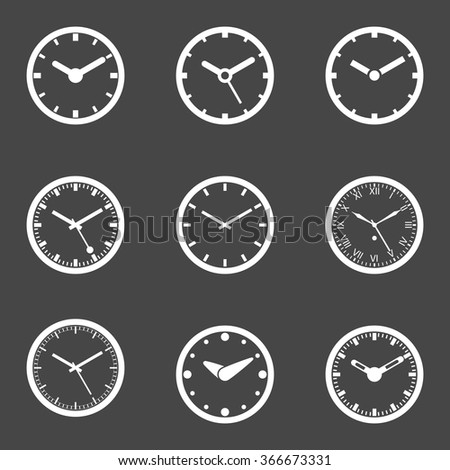Clock; Clock Icon Set Vector - Isolated Vector Illustration. Transparent white icons on dark background. Simplified Solid Design - stock vector