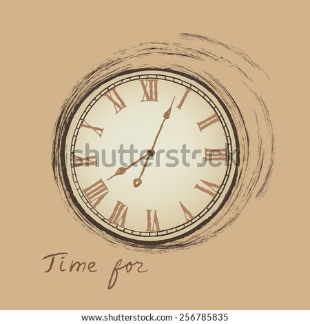 Clock concept in retro style. Time for happy hour. - stock vector