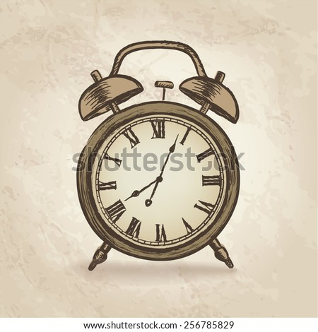 Clock concept in retro style. Watch vintage. - stock vector