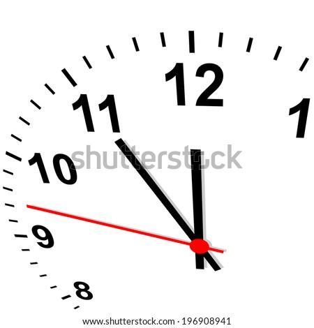 Clock 3D - eleven fifty-five - stock vector