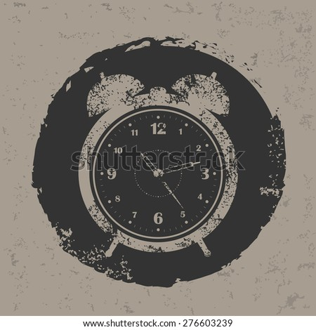 Clock design on grunge background, grunge vector - stock vector