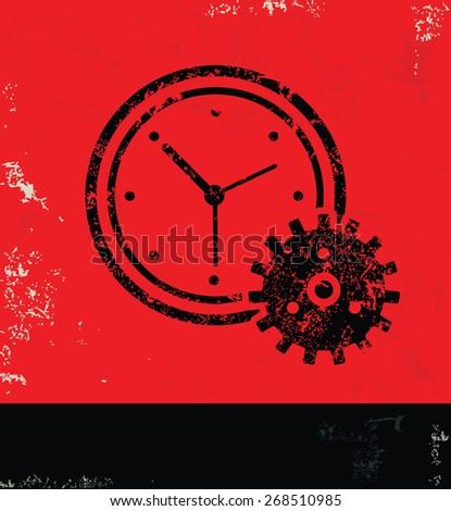 Clock design on red background,grunge vector - stock vector