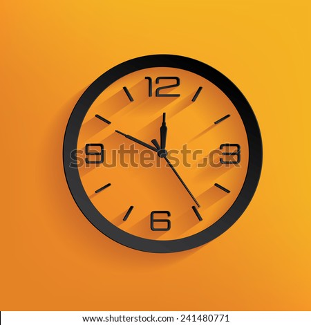 Clock design on yellow background, clean vector - stock vector