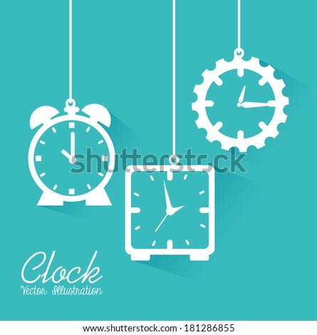 clock design over blue background vector illustration - stock vector
