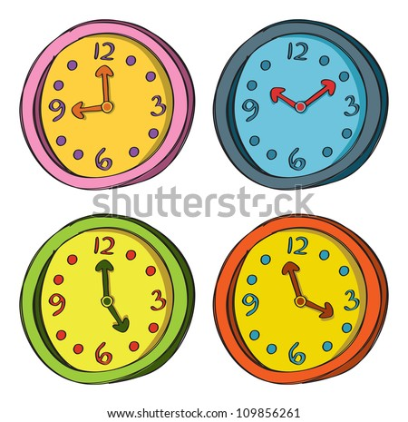clock doodle in various color - stock vector