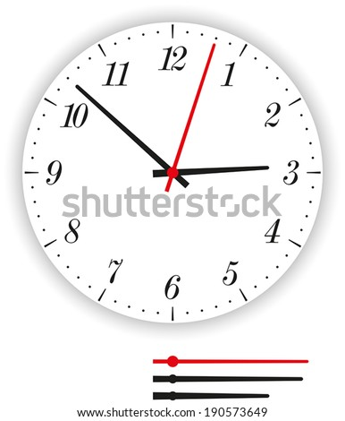 Clock Face Modern - Illustration of a modern clock face (dial) as part of an analog clock (watch) with black and red pointers. Isolated vector on white background. - stock vector