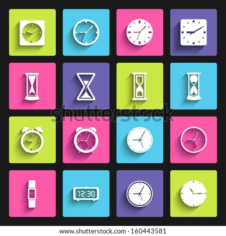 clock flat design icon set. template elements for web and mobile applications - stock vector