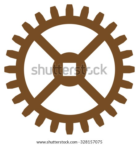 Clock Gear vector icon. Style is flat symbol, brown color, rounded angles, white background. - stock vector