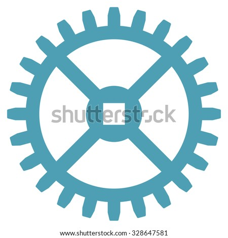 Clock Gear vector icon. Style is flat symbol, cyan color, rounded angles, white background. - stock vector