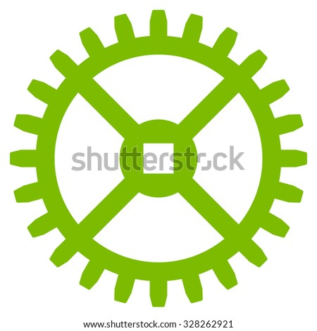 Clock Gear vector icon. Style is flat symbol, eco green color, rounded angles, white background. - stock vector