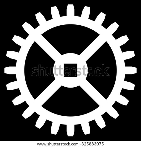 Clock Gear vector icon. Style is flat symbol, white color, rounded angles, black background. - stock vector