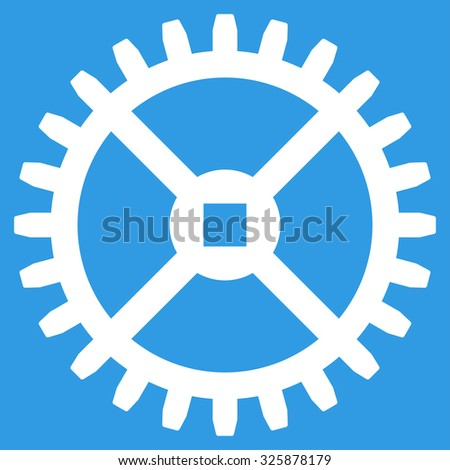 Clock Gear vector icon. Style is flat symbol, white color, rounded angles, blue background. - stock vector
