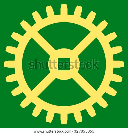 Clock Gear vector icon. Style is flat symbol, yellow color, rounded angles, green background. - stock vector