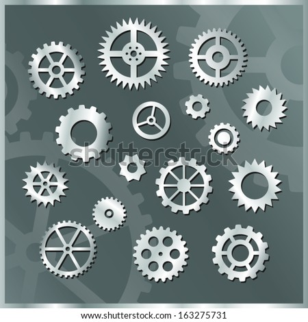 clock gears silver icons