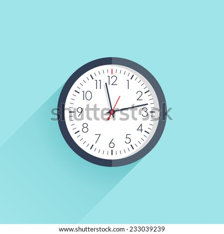 Clock icon flat style with long shadow. Vector illustration - stock vector