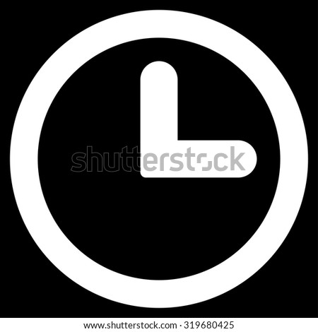 Clock icon from Primitive Set. This isolated flat symbol is drawn with white color on a black background, angles are rounded. - stock vector