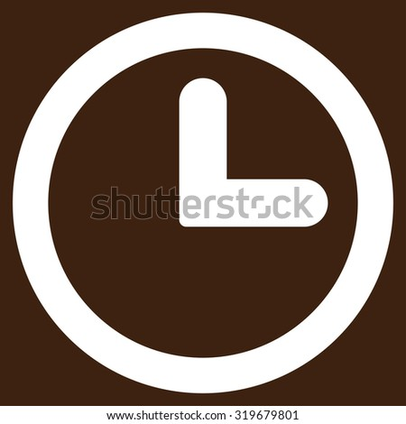 Clock icon from Primitive Set. This isolated flat symbol is drawn with white color on a brown background, angles are rounded. - stock vector