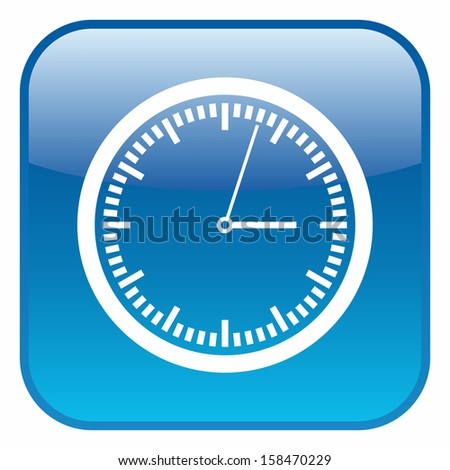 Clock icon (glossy rounded button, blue version) - stock vector