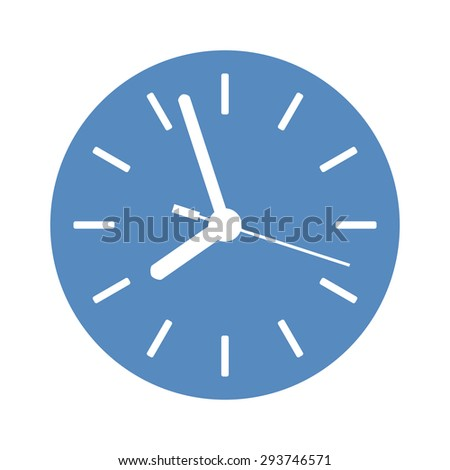 Clock icon in blue circle - stock vector
