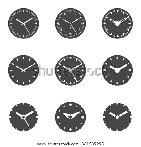 Clock Icon Set - Isolated Vector Illustration. - stock vector