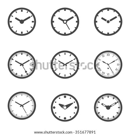 Clock Icon Set - Outline Isolated Vector Illustration. - stock vector