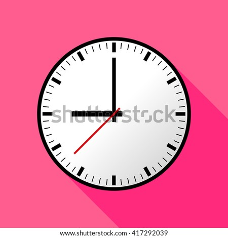 Clock icon, Vector illustration, flat design. Easy to use and edit. EPS10. Pink background with shadow.