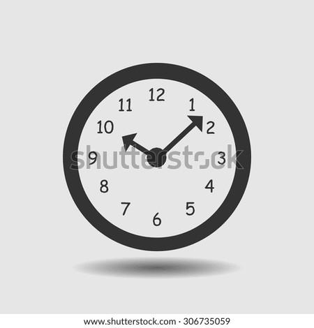 Clock icon, vector illustration. Flat design style.. - stock vector