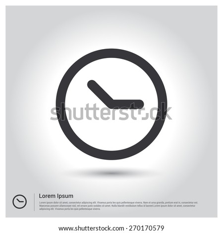 Clock icon Vector illustration for web site, mobile application. Simple flat metro design style. Outline Icon. Flat design style - stock vector