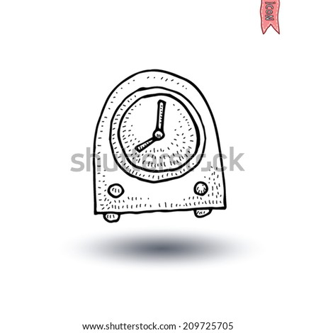 clock icon, watche, Hand drawn vector illustration. - stock vector