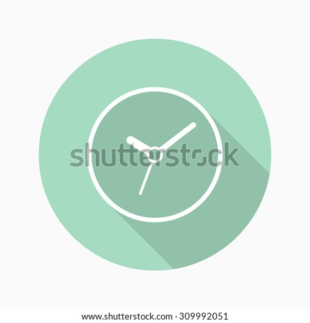Clock icon with long shadow ,flat design , thin line style, vector