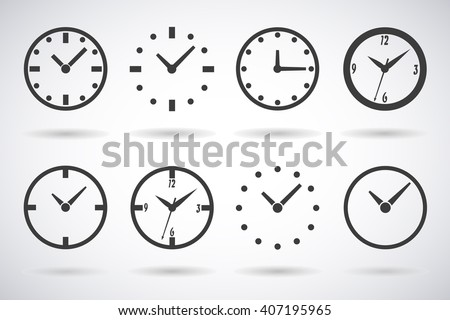 Clock icons,  dials set of 8 pieces with shadow isolated stylish vector illustration for adaptive web design - stock vector