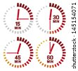 clock icons - fifteen seconds, thirty seconds, forty-five seconds, sixty seconds (clock set, clock design, simple timers) - stock photo