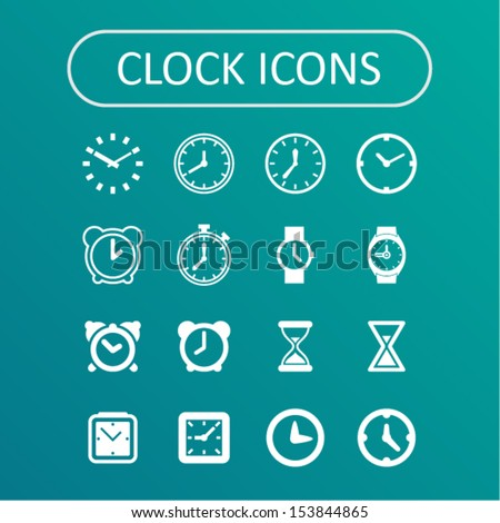 Clock icons for website - stock vector