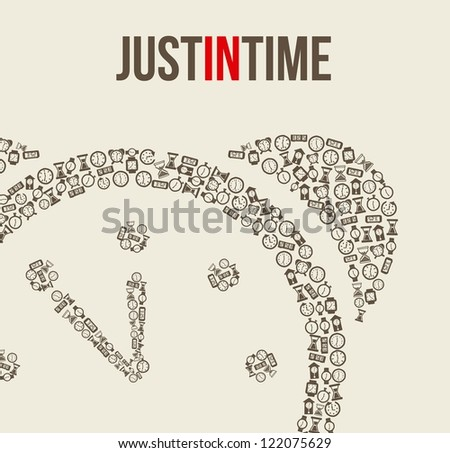clock icons over beige background. vector illustration - stock vector