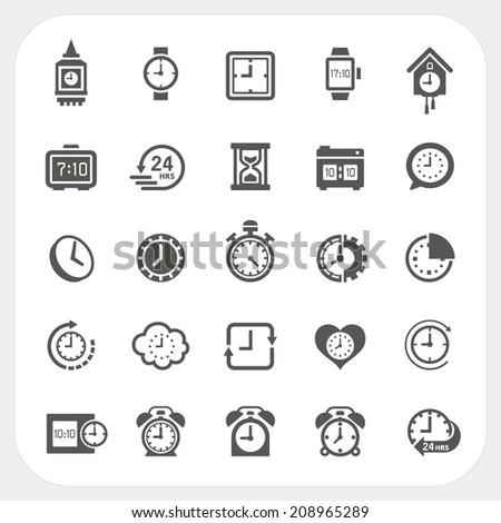 Clock icons set - stock vector